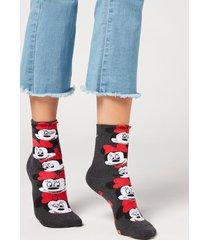 calzedonia disney pattern non-slip cotton ankle socks woman grey size tu