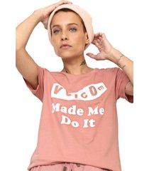 camiseta volcom darting traffic rosa - rosa - feminino - dafiti