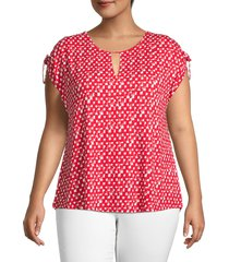 nic+zoe women's plus two to tango printed top - pink multicolor - size 3x (22-24)