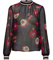 eloise crinkle l/s printed top blus långärmad blå french connection