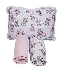 jogo lençol berço americano 3 peças 100% algodão coelho rosa