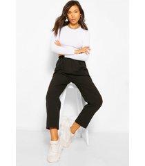 toelopende broek met elastische taille, zwart