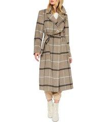women's sanctuary plaid wool blend wrap coat, size x-large - beige