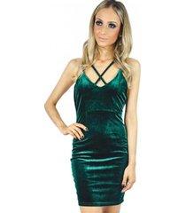vestido liage curto veludo verde escuro