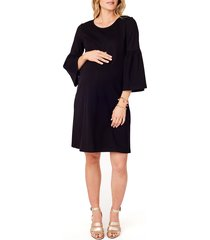 women's ingrid & isabel ponte knit bell sleeve maternity dress, size small - black