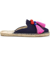 soludos women's alice tassel canvas espadrille mules - living coral - size 7