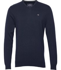 allen v-neck sweater gebreide trui v-hals blauw lexington clothing