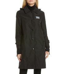women's burberry oxclose logo patch hooded taffeta coat, size 6 - black