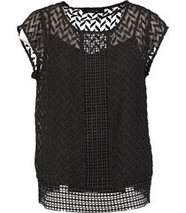 supertrash zwarte polyester top met losse ondertop