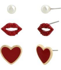betsey johnson lips stud earrings set