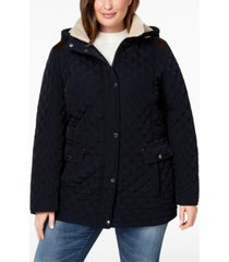 laundry by shelli segal plus size faux-suede-trim sherpa-lined hooded quilted jacket