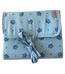 trocador portátil  - coroa azul bebê