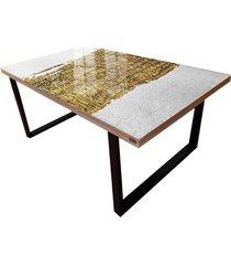 fabuloso - stolik kawowy ze złotą strukturą