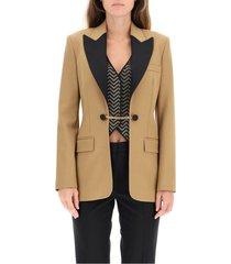 blazer in lana con gilet e strass