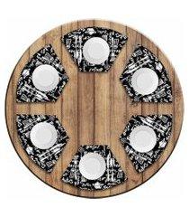 jogo americano love decor  para mesa redonda wevans menu kit com 6 pçs