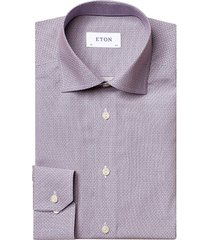 eton men's slim-fit geometric-print dress shirt - pink red - size 16