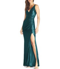 women's dress the population jordan ruched mermaid gown, size large - green