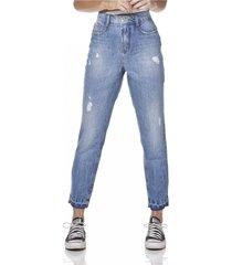calça jeans denim zero mom com puídos