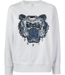 kenzo beaded signature tiger head sweatshirt - grey