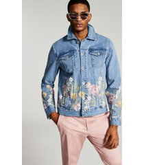 inc men's regular-fit floral-print denim trucker jacket, created for macy's