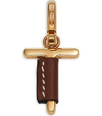 leather-wrapped t letter charm enhancer