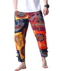 hombres estilo étnico baggy algodón lino cordón cintura casual harem pantalones