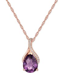 "amethyst (1-1/2 ct. t.w.) & diamond (1/20 ct. t.w.) 18"" pendant necklace in 14k rose gold (also available in citrine, garnet & blue topaz)"