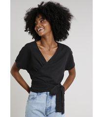 blusa feminina mindset transpassada manga curta decote v preta