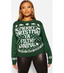 plus merry christmas ya filthy animal trui, bottle green