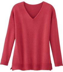 v-hals-pullover, bessenrood 44/46