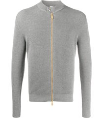 eleventy zip-up ribbed cardigan - grey
