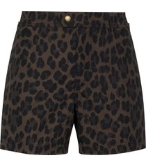 tom ford leopard print swim shorts - brown