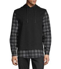 plaid twofer hoodie