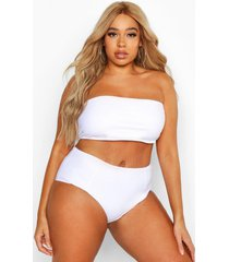 plus bandeau bikini top, white