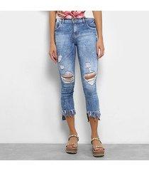 calça jeans skinny coca-cola estonada cintura média feminina