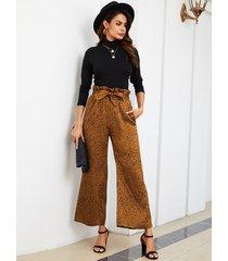 yoins marrón cinturón diseño lunares pantalones