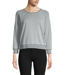 distressed raglan cotton-blend sweatshirt