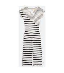 pijama macacão em viscolycra estampa listras | lov | branco | p
