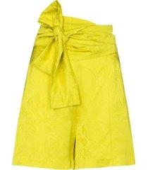 silvia tcherassi bow-detail floral-jacquard shorts - yellow