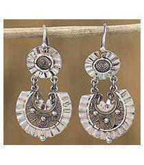sterling silver filigree dangle earrings, 'huipil blouse' (mexico)