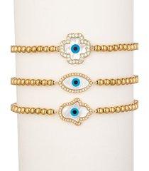 eye candy la women's luxe 3-piece 18k goldplated titanium hamsa & evil eye beaded bracelet set