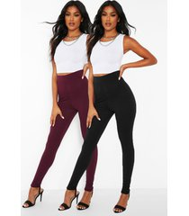 2-pack basic legging met hoge taille, berry