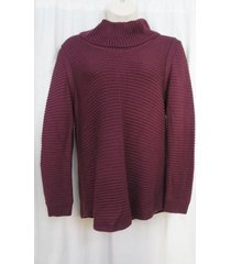 calvin klein sweater woman sz 0x fig ribbed funnel cowl neck chunky casual