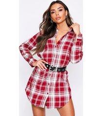 brushed flanneled oversized shirt dress, burgundy