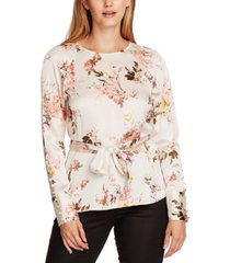 vince camuto floral-print belted blouse