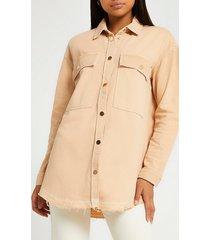 river island womens orange long sleeve frayed hem denim shirt