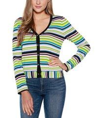 belldini black label stripe long sleeve v-neck button up cardigan sweater