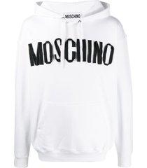 moschino zip-ribbon logo hoodie - white