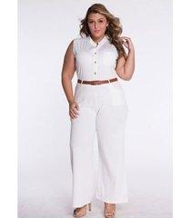 mono informal sin mangas con cuello redondo y cintura alta para mujer con cinturón blanco