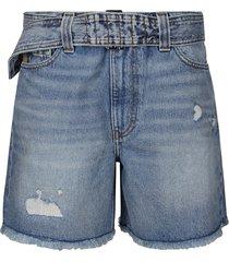 ganni denim cotton shorts